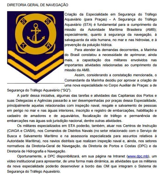 fccfd8c4e4 Marinha cria especialidade em Segurança do Tráfego Aquaviário ...