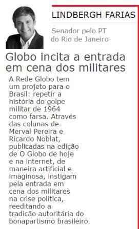 militares rede globo lindberg farias senador